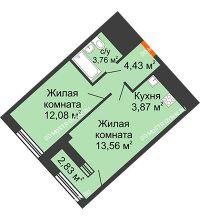 1 комнатная квартира 39,12 м² в ЖК Дом на Набережной, дом № 1 - планировка