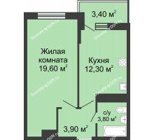 1 комнатная квартира 41,3 м² в ЖК Первый, дом Литер 2 - планировка