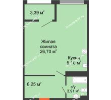 1 комнатная квартира 45,66 м² в ЖК Олимп, дом Литер 1 - планировка