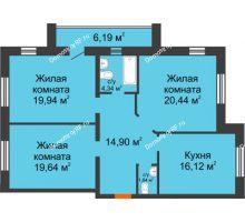 3 комнатная квартира 97,22 м² в ЖК На Гнаровской, дом № 12 корпус 9 - планировка