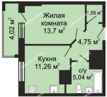 1 комнатная квартира 38,35 м² - ЖК Гелиос