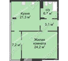 1 комнатная квартира 64,5 м² в ЖК Славянский квартал, дом № 5а, 7