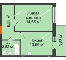 1 комнатная квартира 35,31 м² в ЖК Образцово, дом № 4 - планировка