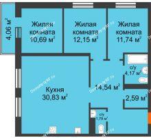 3 комнатная квартира 88,49 м² в OK Salut (Салют), дом ГП-6 - планировка