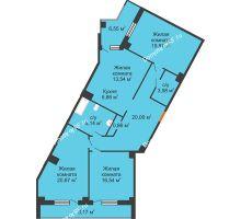 3 комнатная квартира 121,8 м², Клубный дом ГРАН-ПРИ - планировка