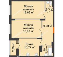 2 комнатная квартира 59,13 м² в Макрорайон Амград, дом №1 - планировка