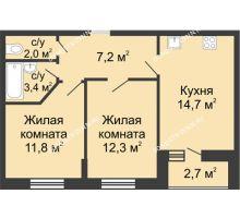 2 комнатная квартира 52,75 м² в ЖК Цветы, дом № 10 - планировка