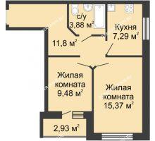2 комнатная квартира 49,29 м², ЖК Волжский-Берег - планировка