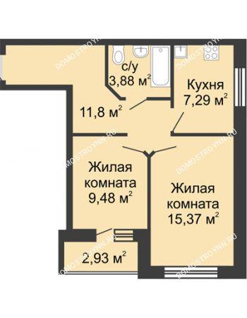 2 комнатная квартира 49,29 м² - ЖК Волжский-Берег