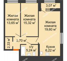 2 комнатная квартира 69,6 м² в ЖК Дом на Набережной, дом № 1 - планировка