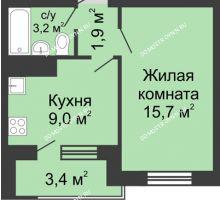 1 комнатная квартира 31,5 м² в ЖК Окский берег, дом №6, Приокская улица - планировка
