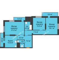 3 комнатная квартира 98,1 м², ЖК Космолет - планировка
