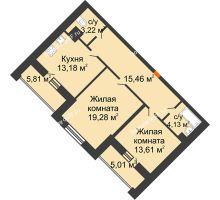 2 комнатная квартира 74,28 м², ЖД Эльбрус - планировка