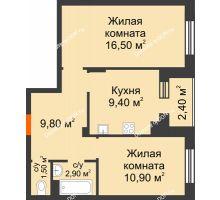 2 комнатная квартира 52,5 м² в Микрорайон Прибрежный, дом № 8 - планировка