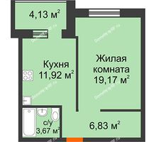 1 комнатная квартира 45,63 м² в ЖК Троицкий, дом Корпус 1 - планировка