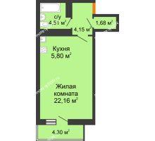 Студия 39,59 м² в ЖК Сокол на Оганова, дом Литер 6 - планировка
