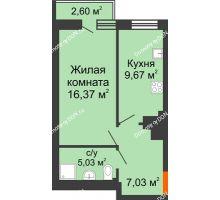 1 комнатная квартира 37,94 м² в ЖК Мечников, дом ул. Таврическая, 4 - планировка