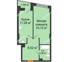 1 комнатная квартира 40,13 м² в ЖК Рубин, дом Литер 3 - планировка