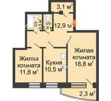 2 комнатная квартира 64,8 м² в ЖКСпутник, дом Позиция 9 - планировка