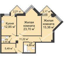 2 комнатная квартира 78,15 м², ЖК С видом на Небо! - планировка