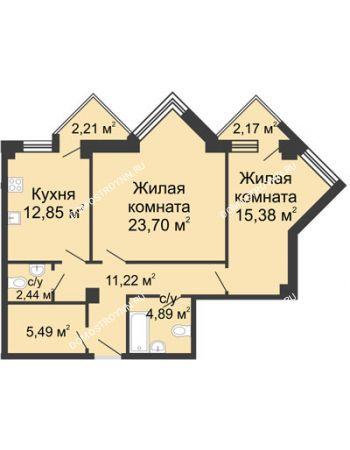 2 комнатная квартира 78,15 м² - ЖК С видом на Небо!
