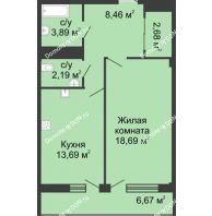 1 комнатная квартира 51,9 м² в  ЖК РИИЖТский Уют, дом Секция 1-2 - планировка