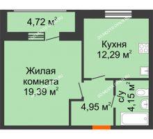 1 комнатная квартира 45,5 м² в ЖК Подкова на Гагарина, дом № 2 - планировка