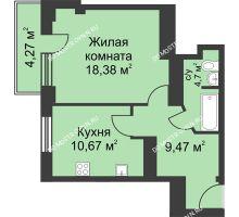 1 комнатная квартира 45,28 м² - ЖК На Ошарской