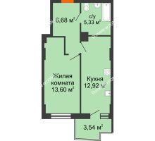 1 комнатная квартира 39,79 м² в ЖК Сердце Ростова 2, дом Литер 7 - планировка