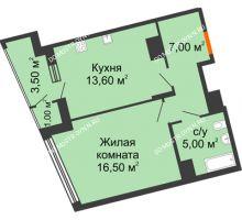 1 комнатная квартира 46,6 м² в ЖК Маршал Град, дом № 3 - планировка