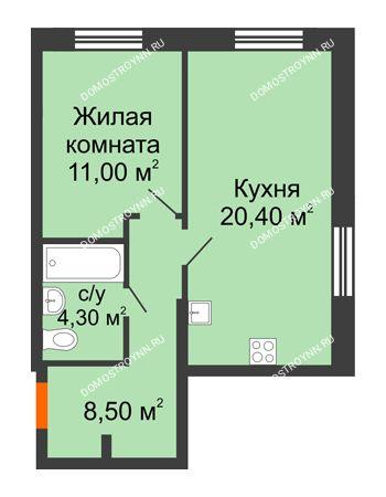 1 комнатная квартира 44,2 м² в ЖК Цветы, дом № 22-2