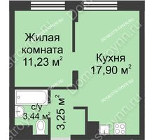 1 комнатная квартира 35,82 м² - ЖК Университетский
