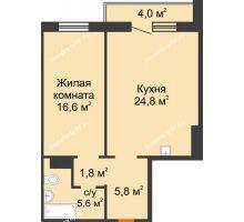 2 комнатная квартира 56,6 м² в ЖК на Калинина, дом № 2.1 - планировка