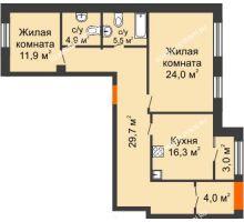 2 комнатная квартира 97,3 м² в ЖК Новая Кузнечиха, дом № 25 - планировка