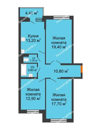 3 комнатная квартира 81,5 м² в ЖК Династия, дом Литер 2