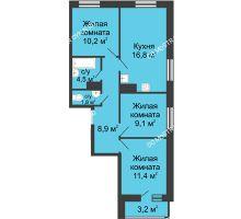 3 комнатная квартира 63,3 м² в ЖК Цветы, дом № 10 - планировка