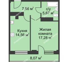 1 комнатная квартира 49,5 м² - ЖК На Ошарской