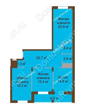 3 комнатная квартира 102,7 м² в ЖК Монолит, дом № 89, корп. 1, 2