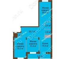 3 комнатная квартира 102,7 м² в ЖК Монолит, дом № 89, корп. 1, 2 - планировка