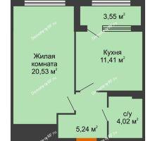 1 комнатная квартира 42,98 м², ЖК Гран-При - планировка