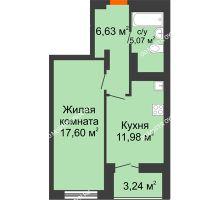 1 комнатная квартира 42,9 м² в ЖК КМ Анкудиновский парк, дом № 20 - планировка