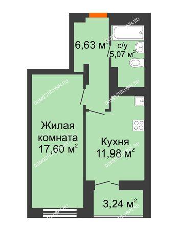 1 комнатная квартира 42,9 м² в ЖК КМ Анкудиновский парк, дом № 20