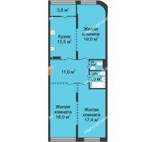 3 комнатная квартира 86,1 м², ЖК Лайнер на Барминской - планировка