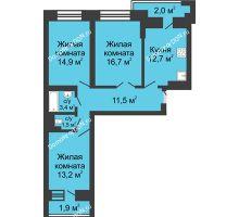 3 комнатная квартира 77,8 м² в ЖК Династия, дом Литер 1 - планировка