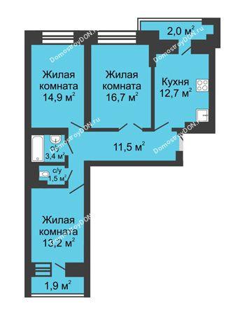 3 комнатная квартира 77,8 м² в ЖК Династия, дом Литер 1