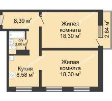 2 комнатная квартира 57,42 м² в ЖК Корабли, дом № 6 - планировка