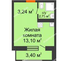 Студия 22,49 м² в ЖК Москва Град, дом 63 - планировка
