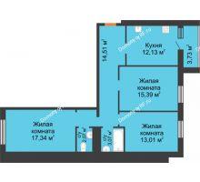 3 комнатная квартира 81,25 м² в ЖК Новая Самара, дом № 44 - планировка