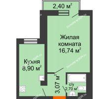 1 комнатная квартира 31,41 м² в ЖК Мечников, дом ул. Мечникова, 37 - планировка