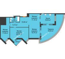 3 комнатная квартира 133,17 м² в ЖК Империал, дом Литер 9 - планировка
